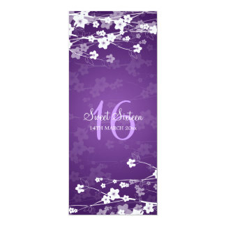 Sweet Sixteen Party Cherry Blossom Purple 4x9.25 Paper Invitation Card