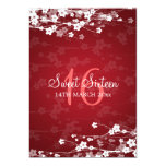 "Sweet Sixteen Party Cherry Blossom Red 5"" X 7"" Invitation Card"