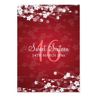 Sweet Sixteen Party Cherry Blossom Red 5x7 Paper Invitation Card