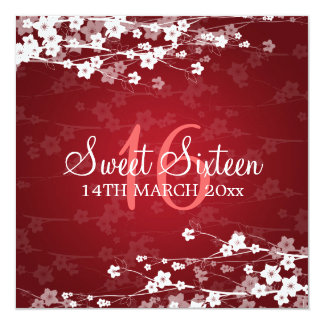 Sweet Sixteen Party Cherry Blossom Red Invite