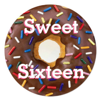 Sweet Sixteen Party Chocolate with Sprinkles Donut Card