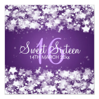 Sweet Sixteen Party Dazzling Stars Purple Card