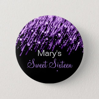 Sweet Sixteen Party Falling Stars Purple Button