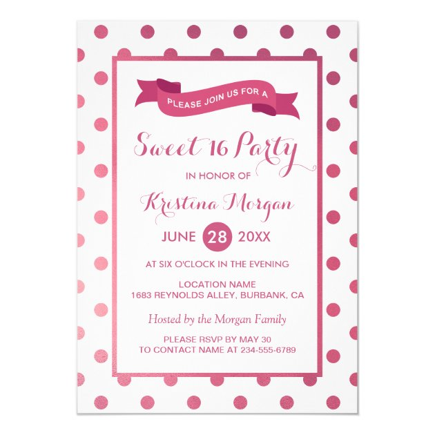 Sweet Sixteen Party Girly Pink Glitter Polk Dots Card