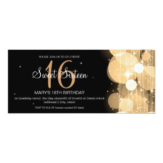 Sweet Sixteen Party Glow & Sparkle Gold 4x9.25 Paper Invitation Card