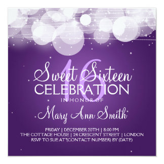 Sweet Sixteen Party Glow & Sparkle Purple Card