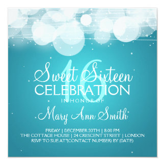 """Sweet Sixteen Party Glow & Sparkle Turquoise 5.25"""" Square Invitation Card"""