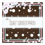 "Sweet Sixteen Party Invitation - Brown Pink - Dots 5.25"" Square Invitation Card"