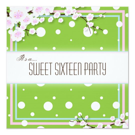 Sweet Sixteen Party Invitation - Green Pink - Dots