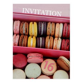 Sweet Sixteen Party Invitation macaron Postcard