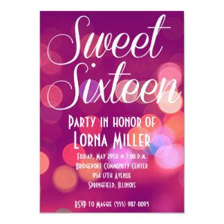 Sweet Sixteen Party Invitation | Pink City Bokeh