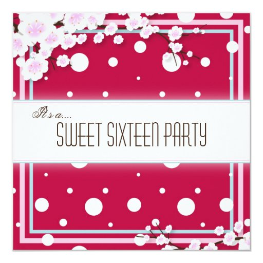 "Sweet Sixteen Party Invitation - Red Pink - Dots 5.25"" Square Invitation Card"