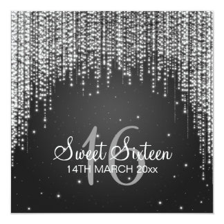 Sweet Sixteen Party Night Dazzle Black Card