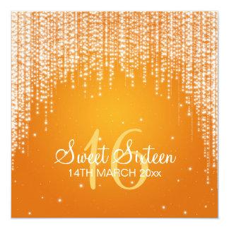 Sweet Sixteen Party Night Dazzle Orange Custom Invite