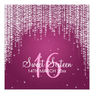 Sweet Sixteen Party Night Dazzle Pink Personalized Invitations