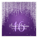 Sweet Sixteen Party Night Dazzle Purple Invitations
