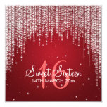 Sweet Sixteen Party Night Dazzle Red 5.25x5.25 Square Paper Invitation Card