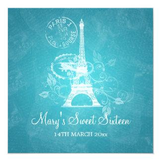 Sweet Sixteen Party Romantic Paris Blue 5.25x5.25 Square Paper Invitation Card