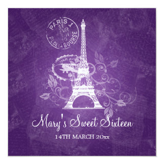 Sweet Sixteen Party Romantic Paris Purple Card