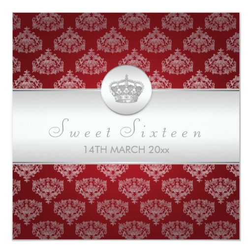 Sweet Sixteen Party Royal Crown Red Invitation