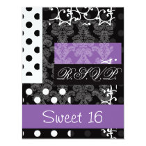 Sweet Sixteen party RSVP Card