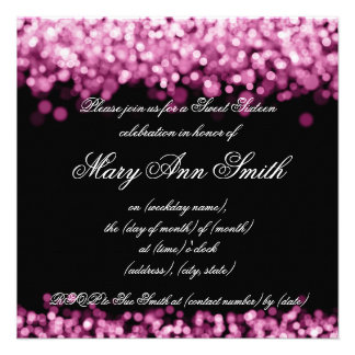 Sweet Sixteen Party Shimmering Pink Lights Invites