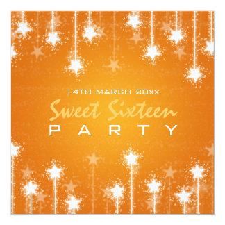 Sweet Sixteen Party Shimmering Stars Orange 5.25x5.25 Square Paper Invitation Card