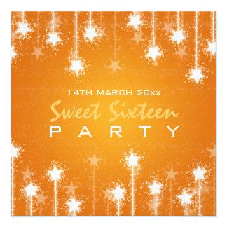 Sweet Sixteen Party Shimmering Stars Orange Custom Invitation