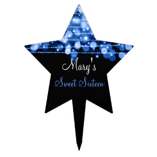Sweet Sixteen Party Sparkles Blue Cake Topper