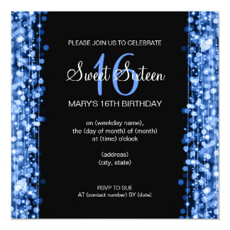 """Sweet Sixteen Party Sparkles Blue 5.25"""" Square Invitation Card"""