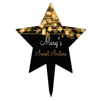 Sweet Sixteen Party Sparkles Gold Cake Topper