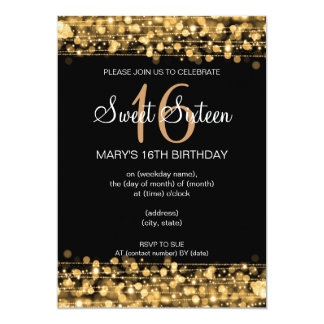 Sweet Sixteen Party Sparkles Gold Card