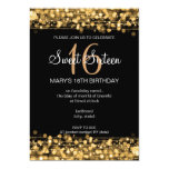 Sweet Sixteen Party Sparkles Gold 5x7 Paper Invitation Card