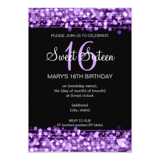 Sweet Sixteen Party Sparkles Purple 5x7 Paper Invitation Card