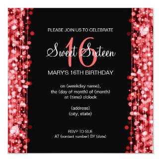 Sweet Sixteen Party Sparkles Red Card