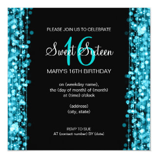 """Sweet Sixteen Party Sparkles Turquoise 5.25"""" Square Invitation Card"""