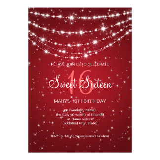 Sweet Sixteen Party Sparkling Chain Red Cards