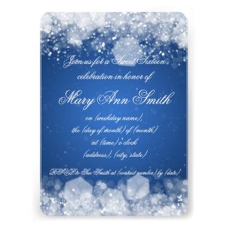 Sweet Sixteen Party Sparkling Night 2 Blue Custom Invites