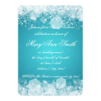 Sweet Sixteen Party Sparkling Night 2 Turquoise Card