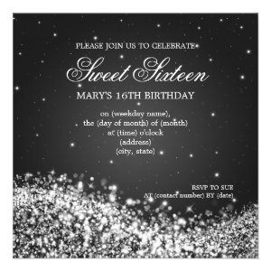 Sweet Sixteen Party Sparkling Wave Black Invites
