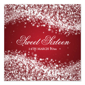 Sweet Sixteen Party Sparkling Wave Red Card