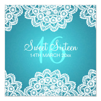 Sweet Sixteen Party Vintage Lace Blue 5.25x5.25 Square Paper Invitation Card
