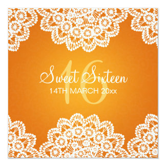 Sweet Sixteen Party Vintage Lace Orange 5.25x5.25 Square Paper Invitation Card