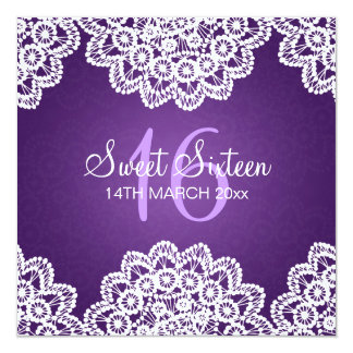 Sweet Sixteen Party Vintage Lace Purple 5.25x5.25 Square Paper Invitation Card