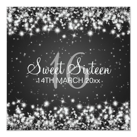 Sweet Sixteen Party Winter Sparkle Black Card