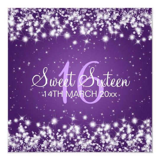Sweet Sixteen Party Winter Sparkle Purple Card