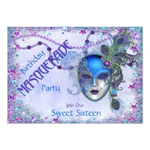Sweet Sixteen Peacock Masquerade Party 5x7 Paper