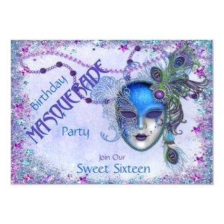 Sweet Sixteen Peacock Masquerade Party Invites