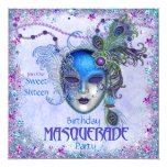 Sweet Sixteen Peacock Masquerade Party 5.25x5.25 Square Paper Invitation Card