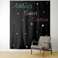 Sweet Sixteen Photo Backdrop Add Your Name